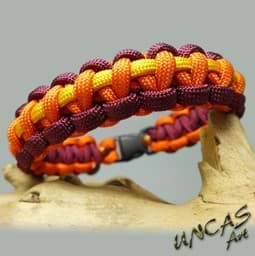 Bild von Paracord Armband RANGERS - bordeaux / orange / goldenrod